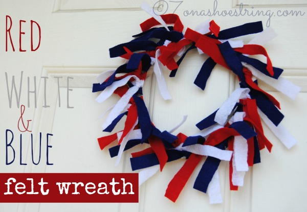 Red White and Blue Felt Wreath Craft, Fourth of July crafts