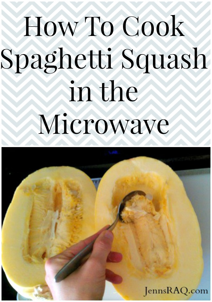 How to Cook Spaghetti Squash in the Microwave as seen on JennsRAQ.com