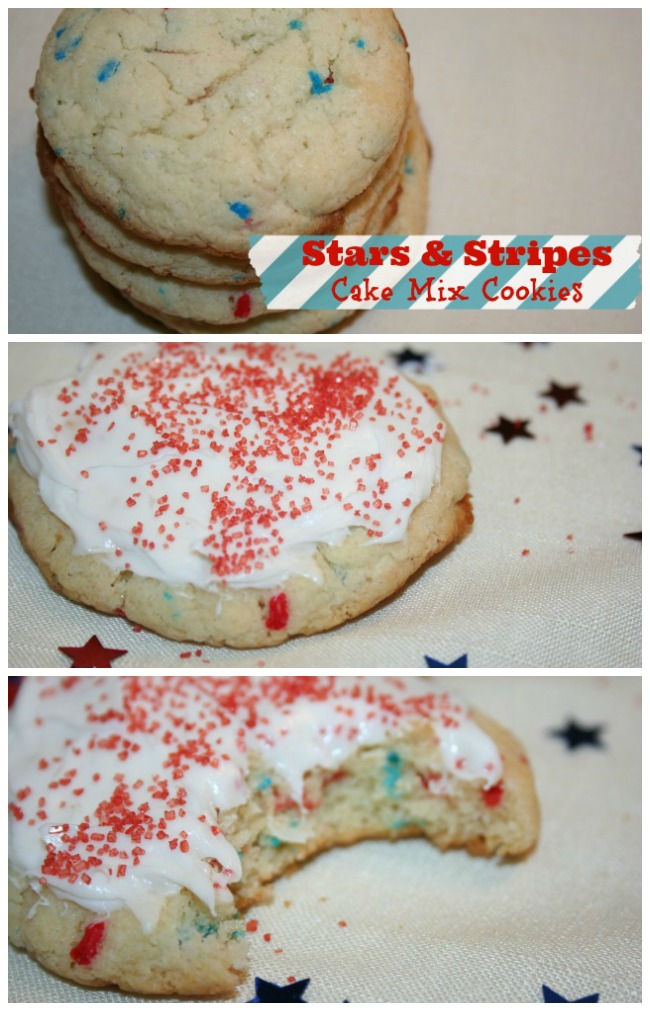 stars and stripes cake mix cookies