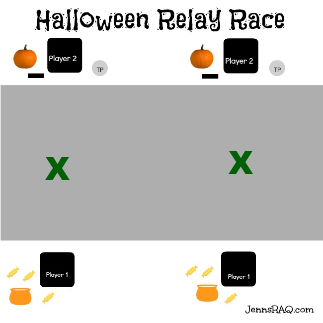 Halloween Relay Race Set Up
