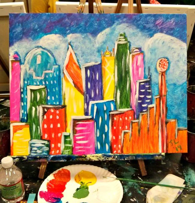 Pinots Palette Lakewood Dallas Skyline Finished