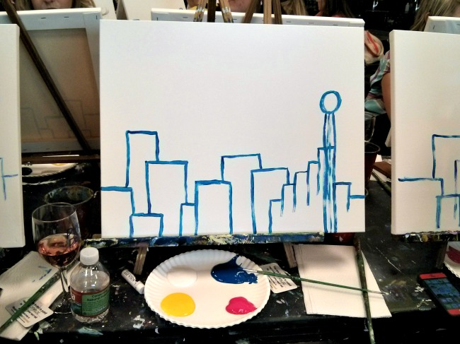 Pinots Palette Lakewood Dallas Outline Skyline