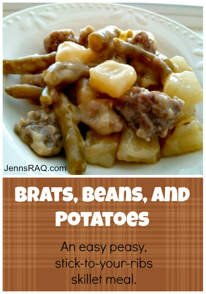 Brats Beans and Potatoes Skillet Meal from JennsRAQ.com