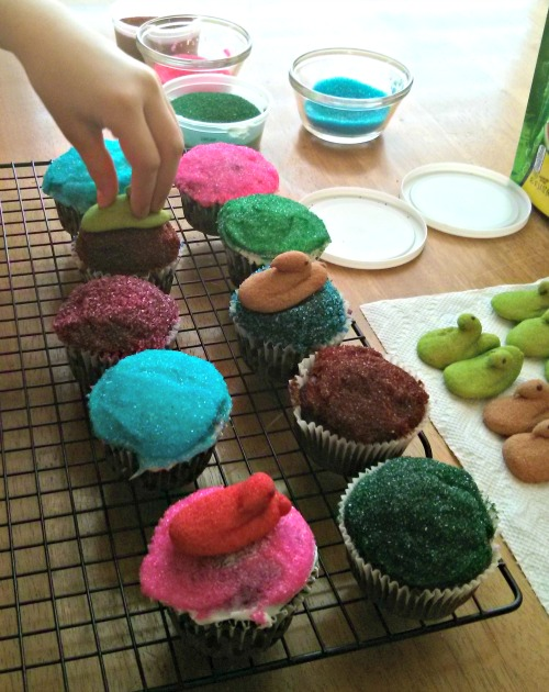 Celebration Cupcakes decorated with Peeps Minis