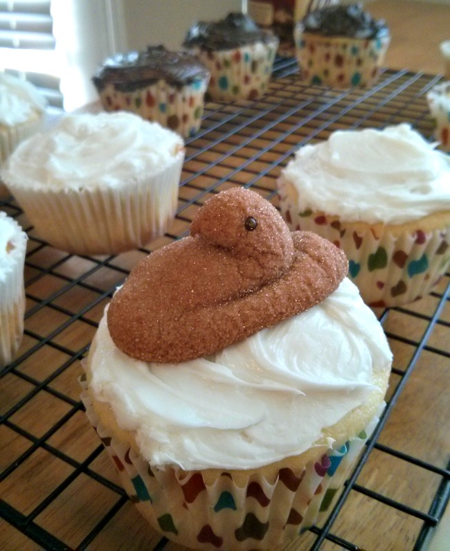 Celebration Cupcakes with Peeps Minis Without Sprinkles