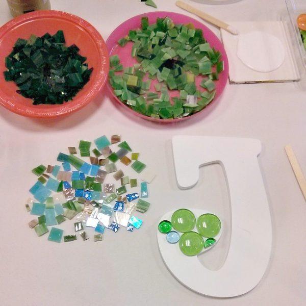 DIY Initial Mosaic at Sunshine Glaze in Southlake