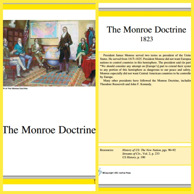 Veritas Press Flashcard Sample Monroe Doctrine