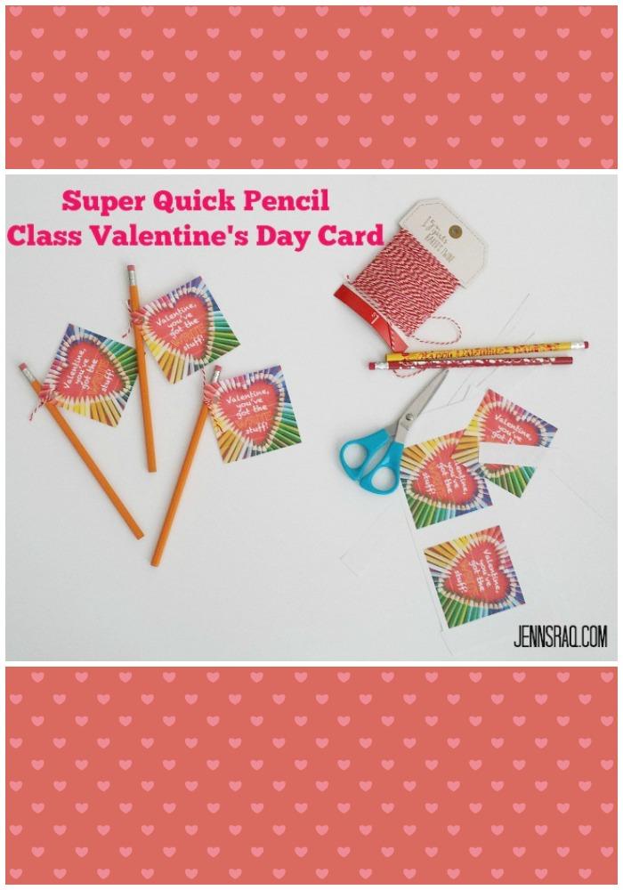 Super Quick Pencil Class Valentines Day Card from JennsRAQ.com