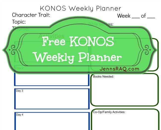 Free Printable KONOS Weekly Planner