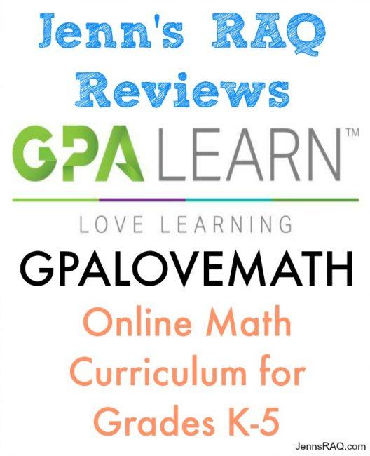 JennsRAQ.com Review of GPA Learn GPALOVEMATH Online Math Curriculum for Grades K-5