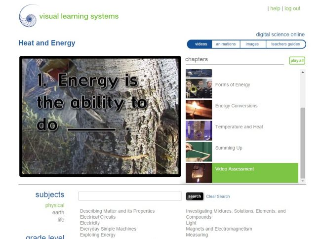 visual learning systems elementary heat and energy assessment online science curriculum for homeschool students K-5 or 6-12