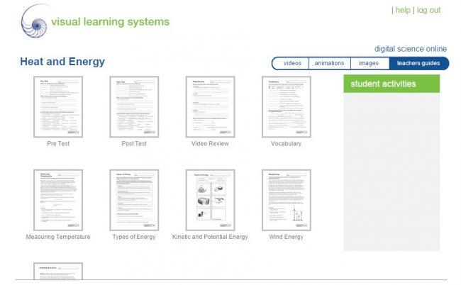 visual learning systems teachers guides and worksheets elementary heat and energy assessment online science curriculum for homeschool students K-5 or 6-12
