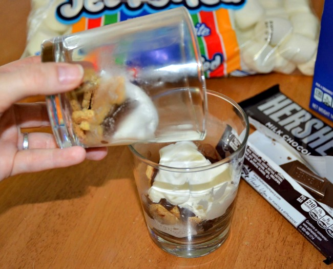 Microwave your second bowlcup for 15 seconds and gently pour the mixture into the first container  #LetsMakeSmores #CollectiveBias #Ad
