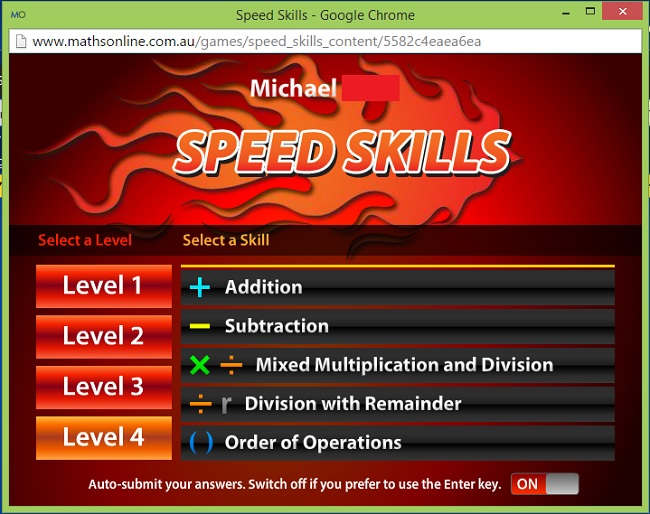 CTC Math Speed Skills Math Game