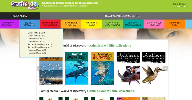 SmartKidz Media Library for Homeschoolers Menu