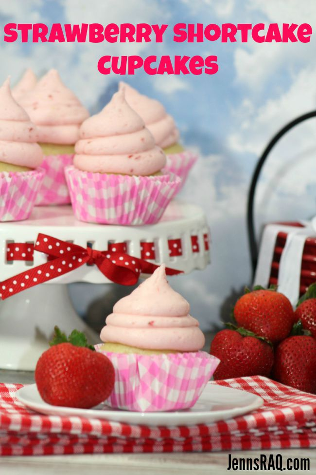 Delicious Strawberry Shortcake Cupcake with Strawberry Buttercream Frosting from JennsRAQ.com
