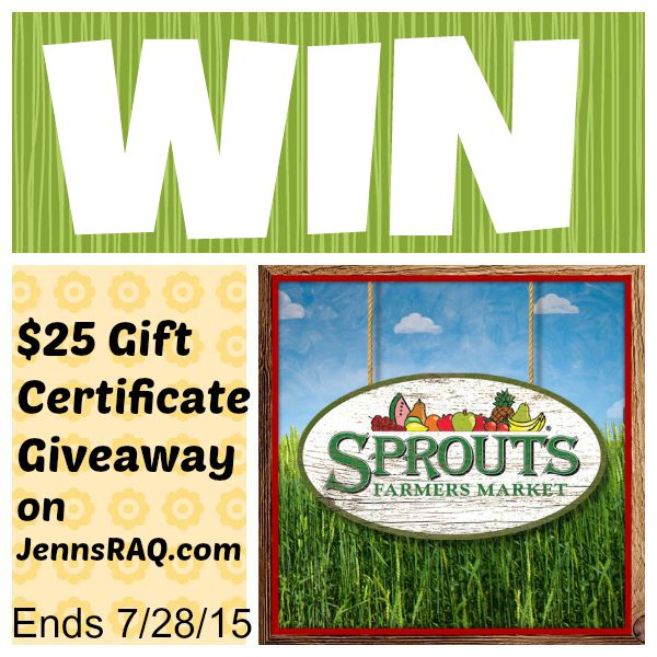 Sprouts Farmers Market Giveaway on JennsRAQ.com ends 7/28/15