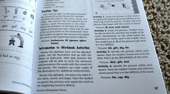 Horizons Kindergarten Phonics & Reading Set Teacher Book Example as seen on JennsRAQ.com
