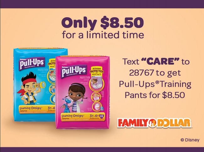 Text to Save on Pull-Ups at Family Dollar