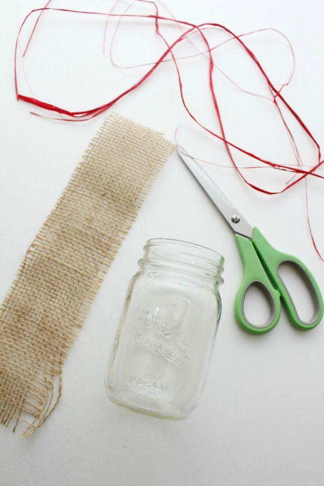 Burlap Jar Materials for easy DIY mason jar vase craft as seen on JennsRAQ.com