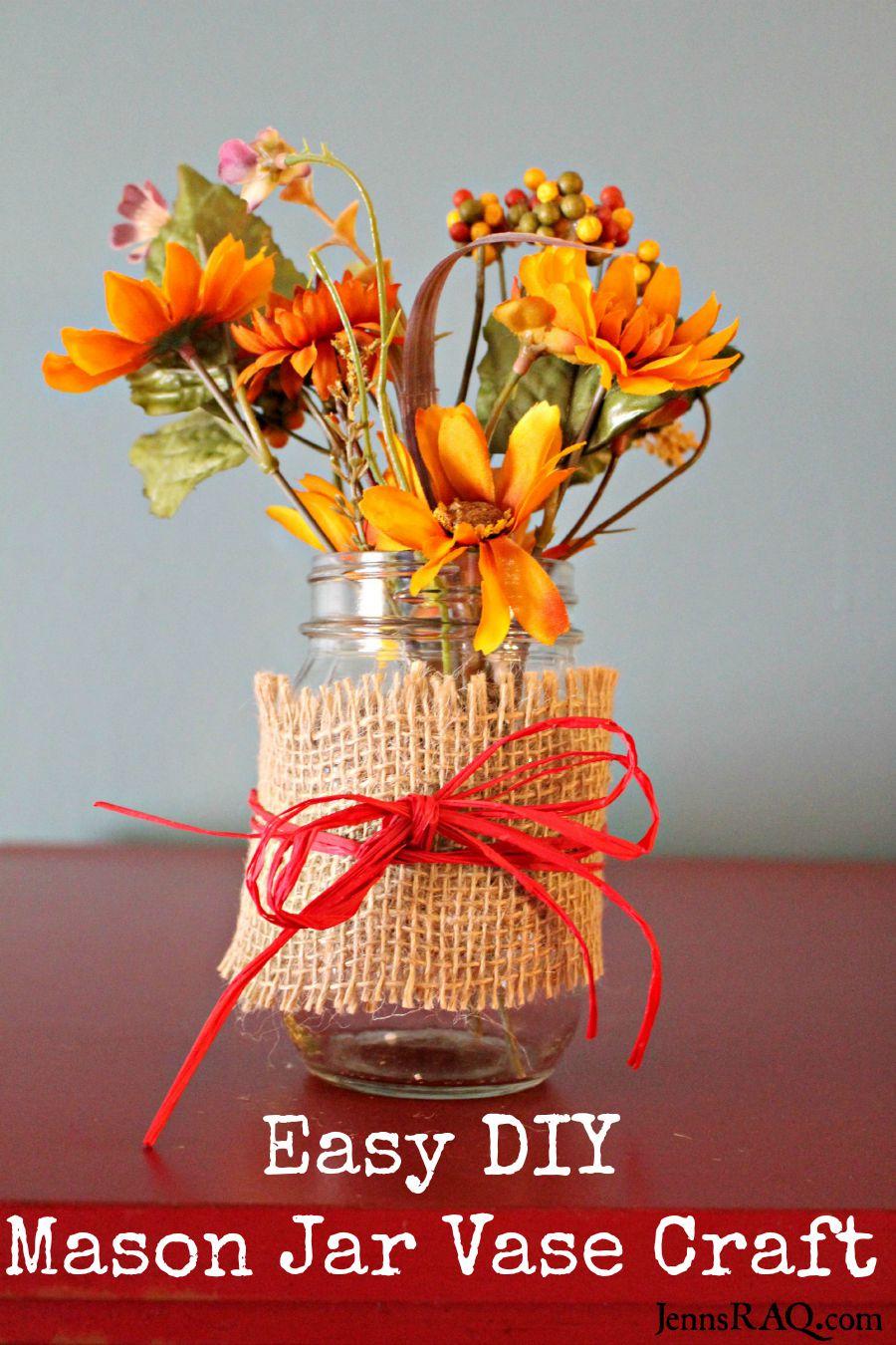 Easy DIY Mason Jar Vase Craft - Rustic - as seen on JennsRAQ.com
