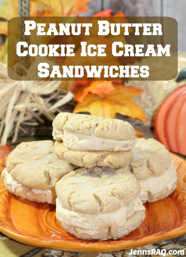 Peanut Butter Cookie Ice Cream Sandwiches as seen on JennsRAQ.com