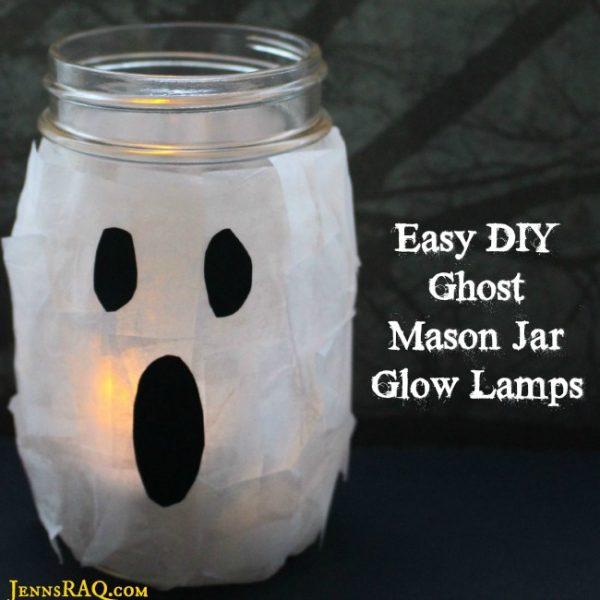 Ghost Mason Jar Glow Lamps {Easy DIY}