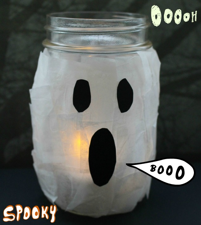 Ghost Mason Jar Glow Lamps as seen on JennsRAQ.com Easy for Kids
