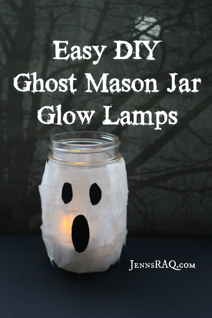 Ghost Mason Jar Glow Lamps as seen on JennsRAQ.com