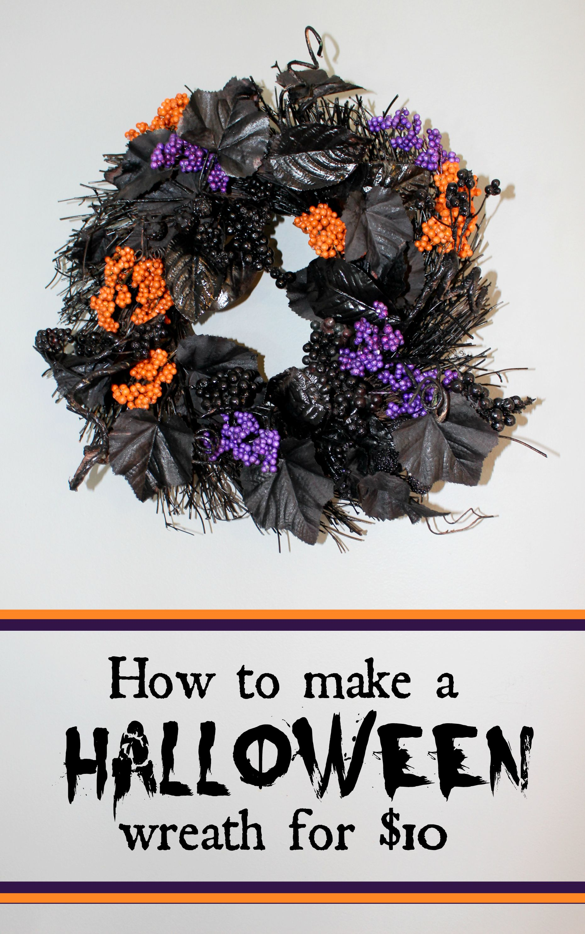 How to make a purple and orange halloween wreath for under $10 as seen on JennsRAQ.com
