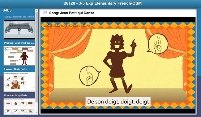 Middlebury Interactive French 1 Song as seen on JennsRAQ
