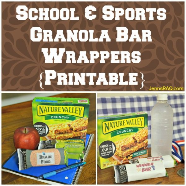 School & Sports Granola Bar Wrappers {Printable}