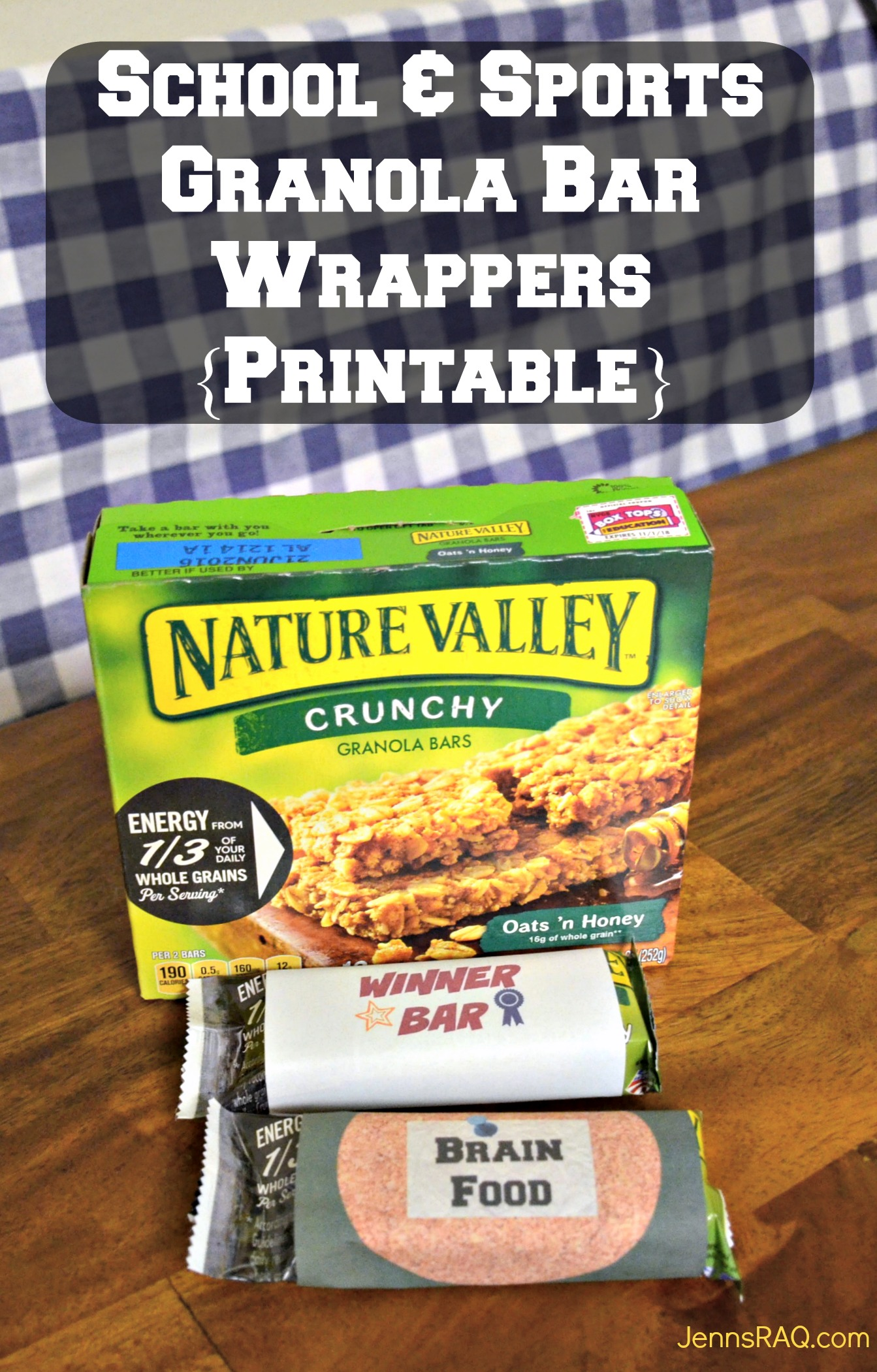 School and Sports Granola Bar Wrappers Printable as seen on jennsRAQ.com #AStockUpSale #TomThumb AD