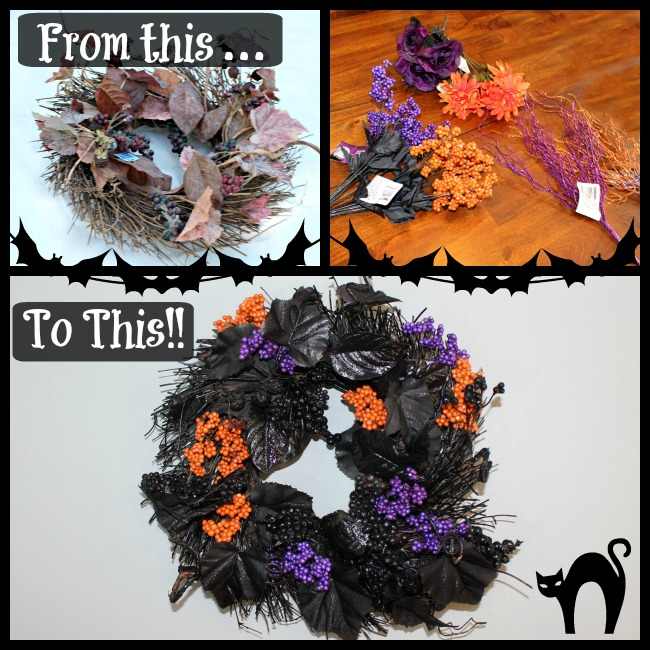 Simple Halloween Wreath for Less than $10 as seen on JennsRAQ.com