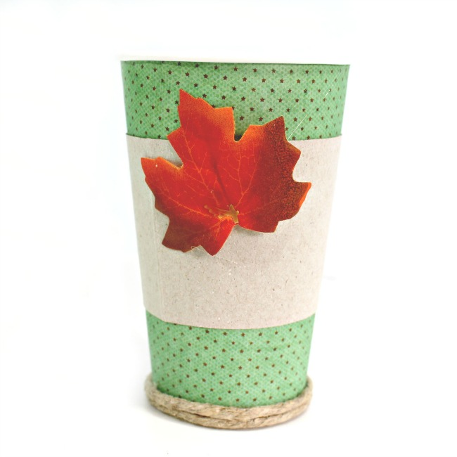fall coffee cup in progress add the holder and leaf embellishment