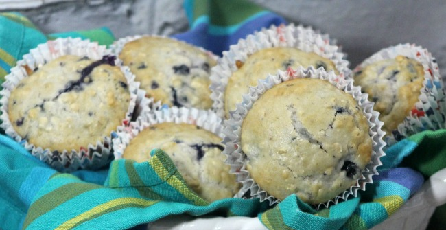 Blueberry Oat Muffins as seen on jennsRAQ.com