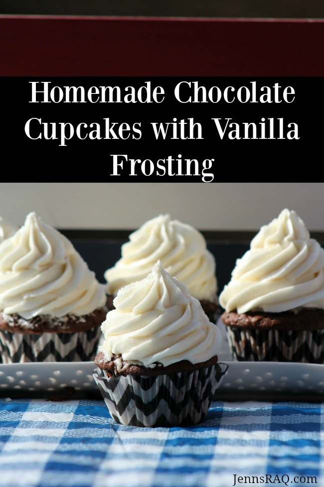 Homemade Chocolate Cupcakes with Vanilla Frosting as seen on JennsRAQ.com