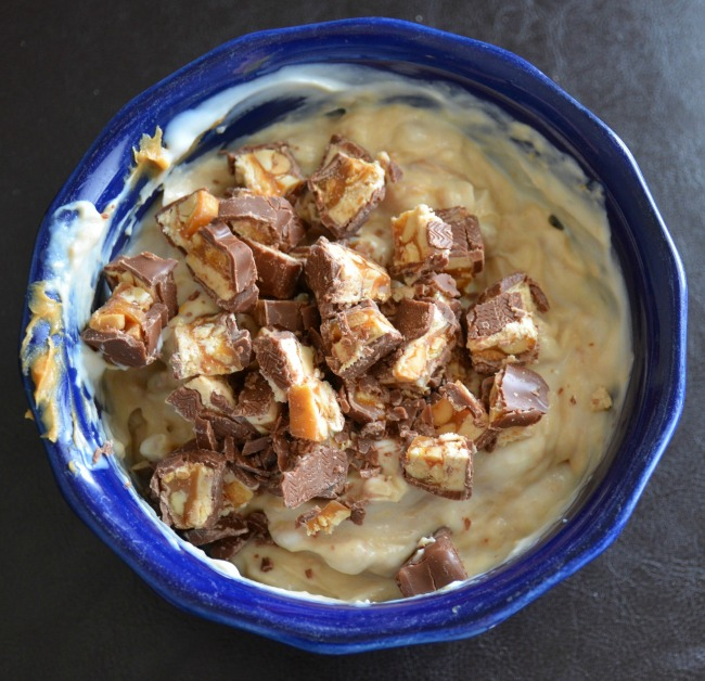 Snickers Blitz Dip ingredients and adding Snickers #GameDayMVP #TomThumb #ad - As seen on JennsRAQ.com