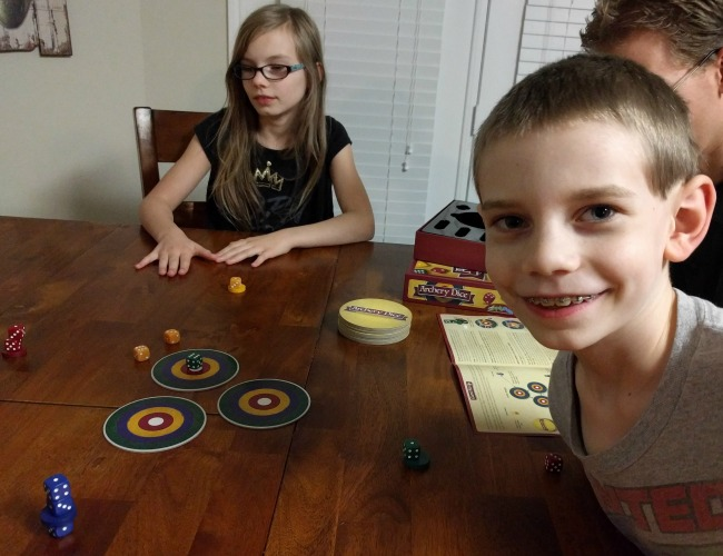 Setting up the Family Game Archery Dice Game Review as seen on JennsRAQ