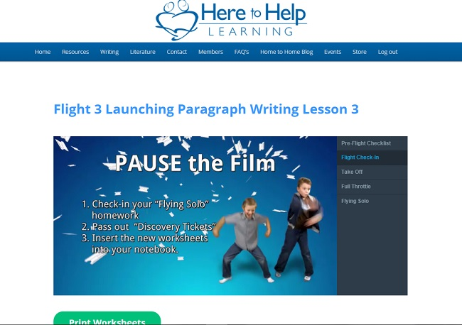 Here to Help Learning Writing Lesson - A great homsechool writing curriculum for elementary students as seen on JennsRAQ.com