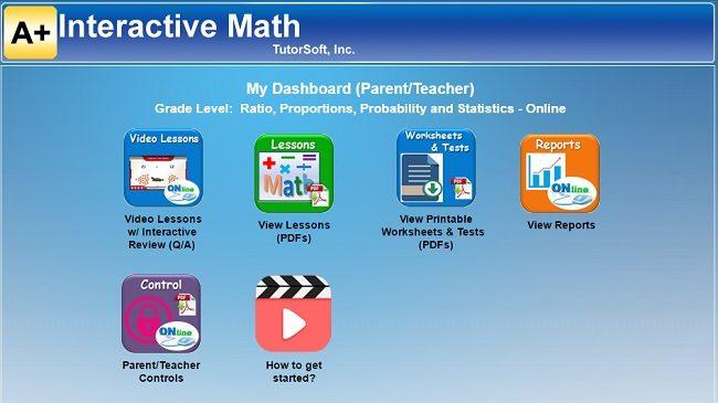 A+ Interactive Math Mini Lesson Parent Dashboard