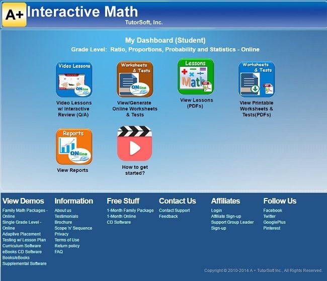 A+ Interactive Math Mini Lesson Student Dashboard