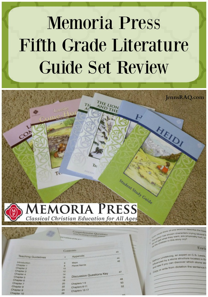 Memoria Press Fifth Grade Literature Guide Set Review as seen on jennsRAQ.com - Great Classical Education language arts