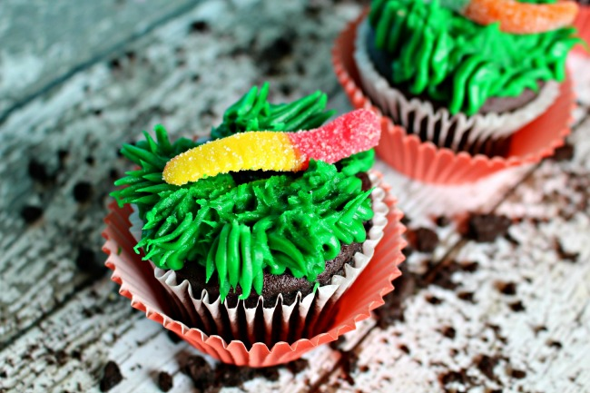Gummy Worm Cupcakes as seen on jennsRAQ.com Great for kid parties