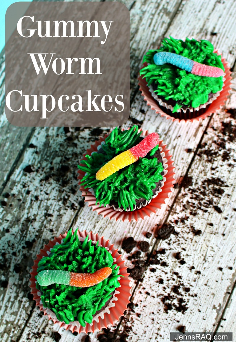 Gummy Worm Cupcakes as seen on jennsRAQ.com