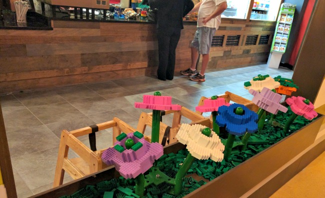 Flower LEGO window boxes at the New and Redesigned Cafe at LEGOLAND Discovery Center Dallas Fort Worth