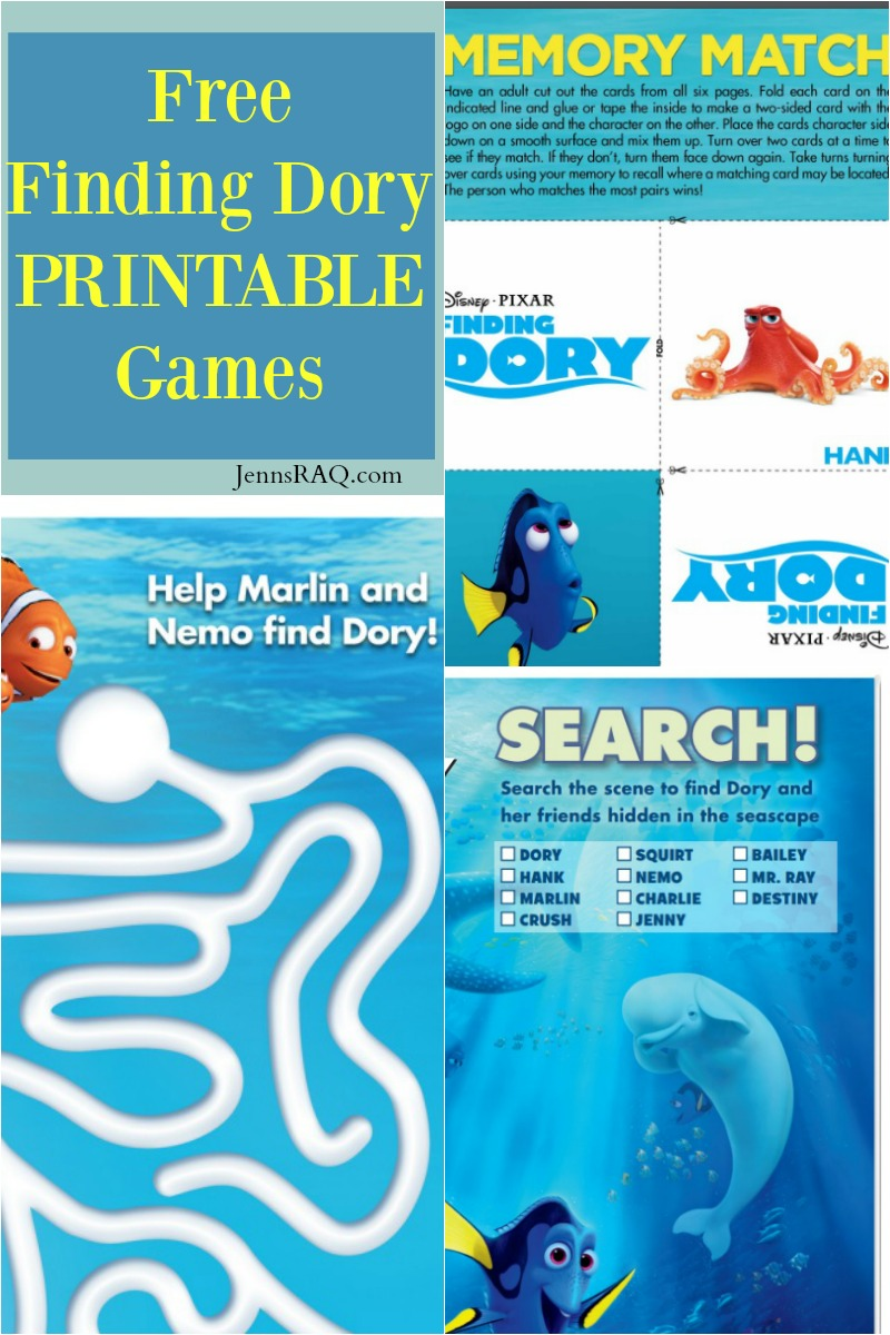 Free Finding Dory PRINTABLE Games- Real And Quirky