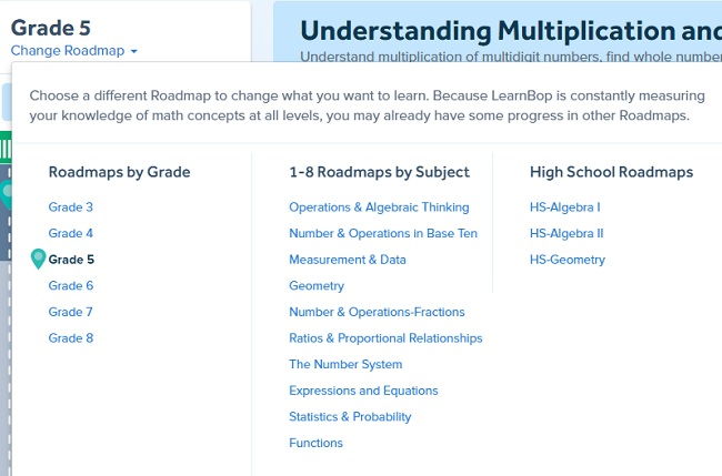 LearnBop Change Roadmap by Grade