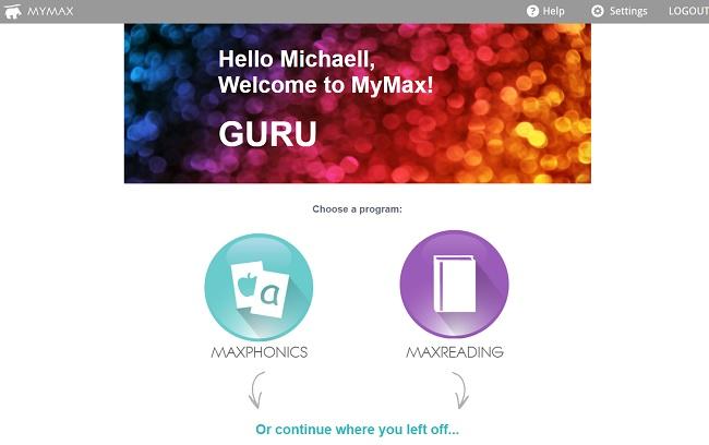 MaxScholar Welcome Screen - Choose a Program