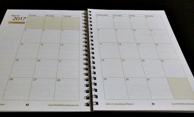 Monthly planner pages from the Hey Mama! Print Schoolhouse Planner 2016-2017